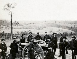 General William Sherman leaning on breach of gun with his staff at Federal Fort Nov. 7, 1864. Uriah Oblinger served under Sherman in the siege of Atlanta, just after the letter below.