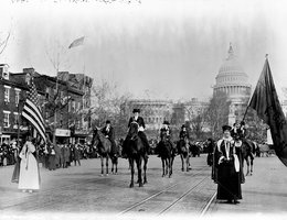 Women suffragists marching on Pennsylvania Avenue, March 3, 1913