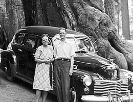 Kitty and Edwin Perkins later in life in a redwood forest in California