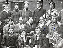 Norris' class at Indiana State Normal School in Valparaiso, Indiana. George is in the middle row, third from the right.