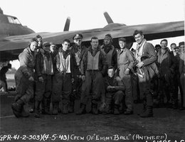 Captain Clark Gable (on the right) and the Eight Ball MK II Crew; After training in Kearney, Nebraska, Clark Gable was stationed in Europe
